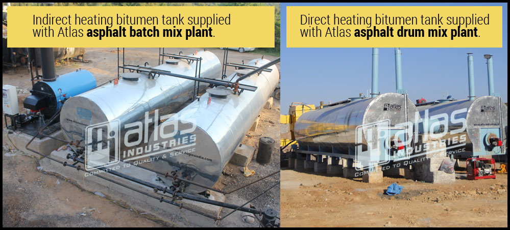 Direct and indirect heating bitumen tanks