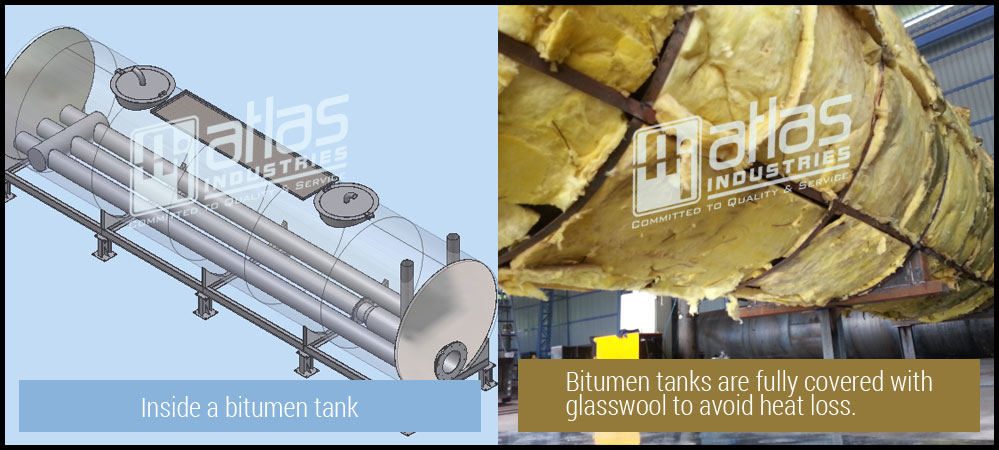 Fully covered with glasswool - bitumen tanks