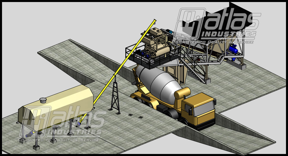 mobile concrete plant layout with horizontal silo