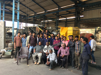 Trial run of small asphalt plant at our factory in India