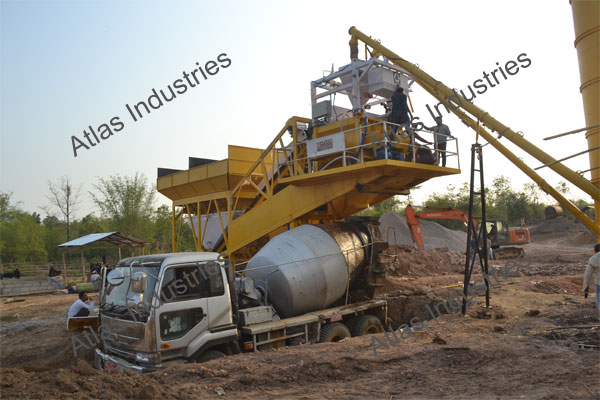 45 m3/hr. mobile concrete batching plant installed in Myanmar