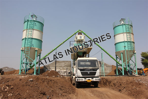 Mobile concrete plant with 60 tons cement silo installed in India