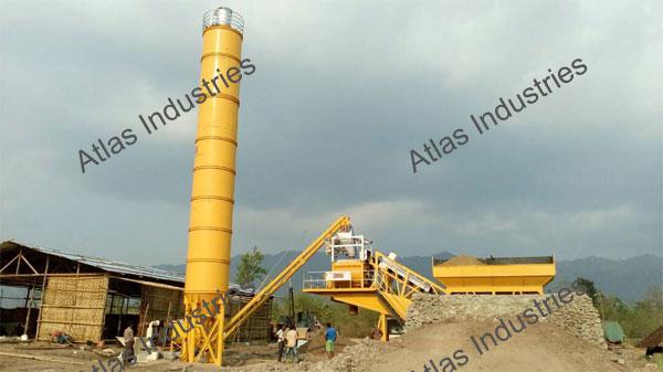 working 45 m3/hr. mobile concrete batching plant Myanmar