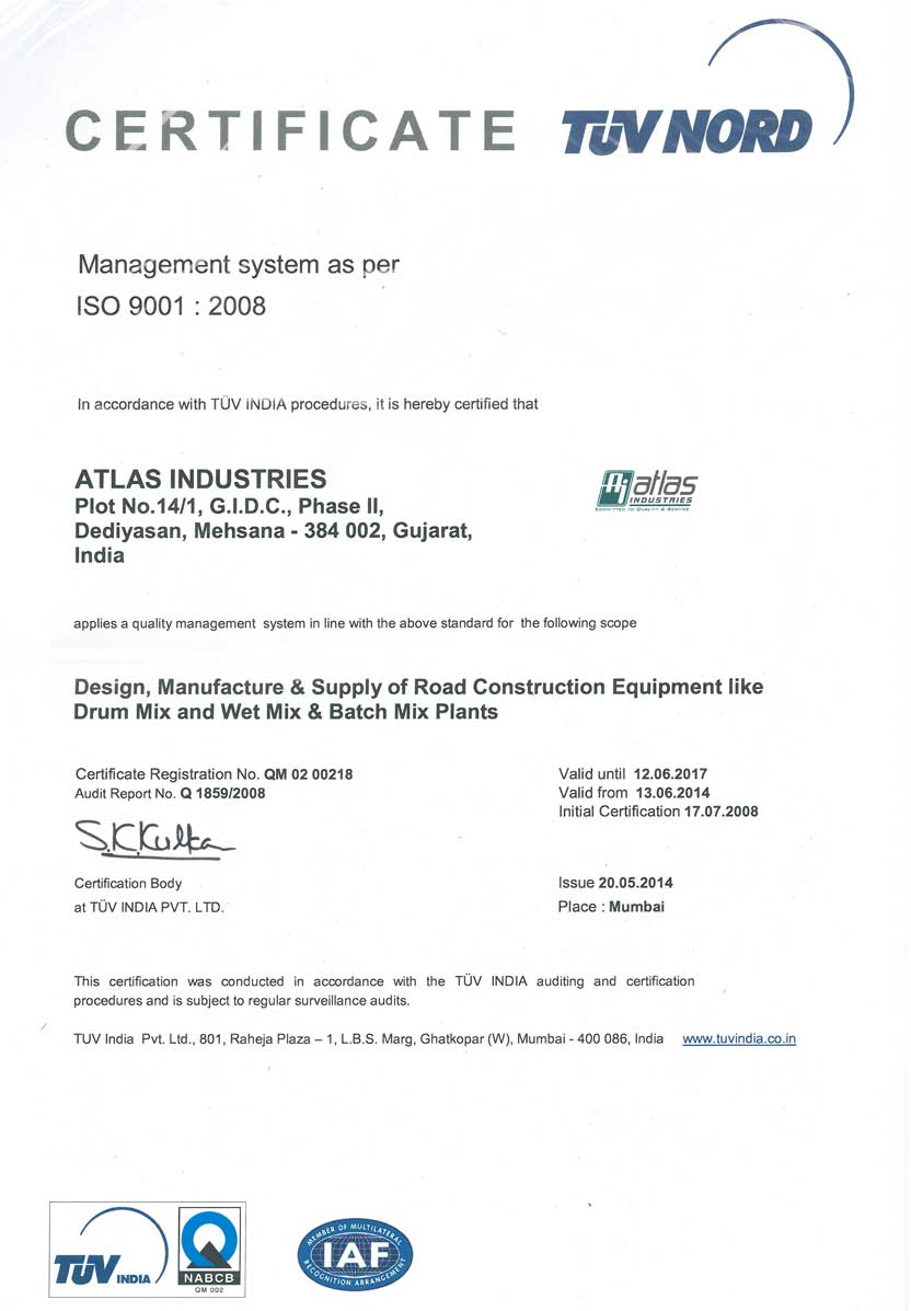 ISO certificate Atlas Industries